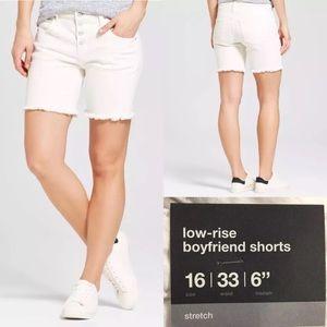 Mossimo White Low Rise Boyfriend Stretch Shorts